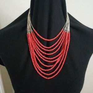 Coral bead multistrand necklace